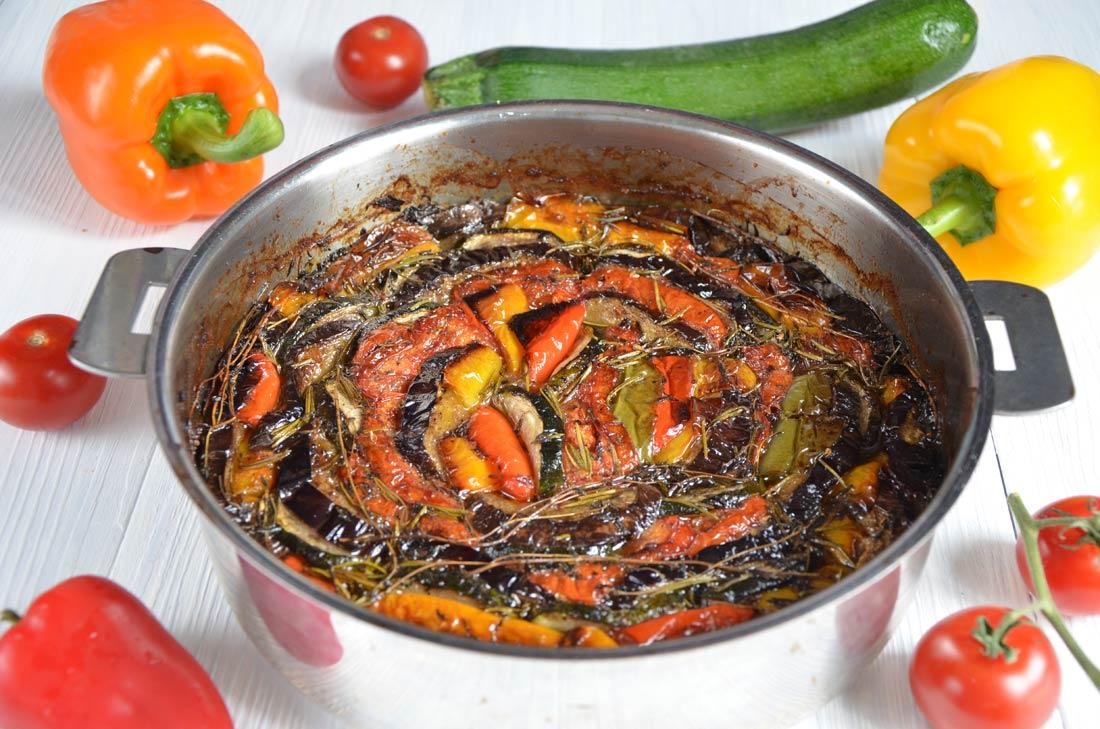 tian de légumes et poitrine fumée