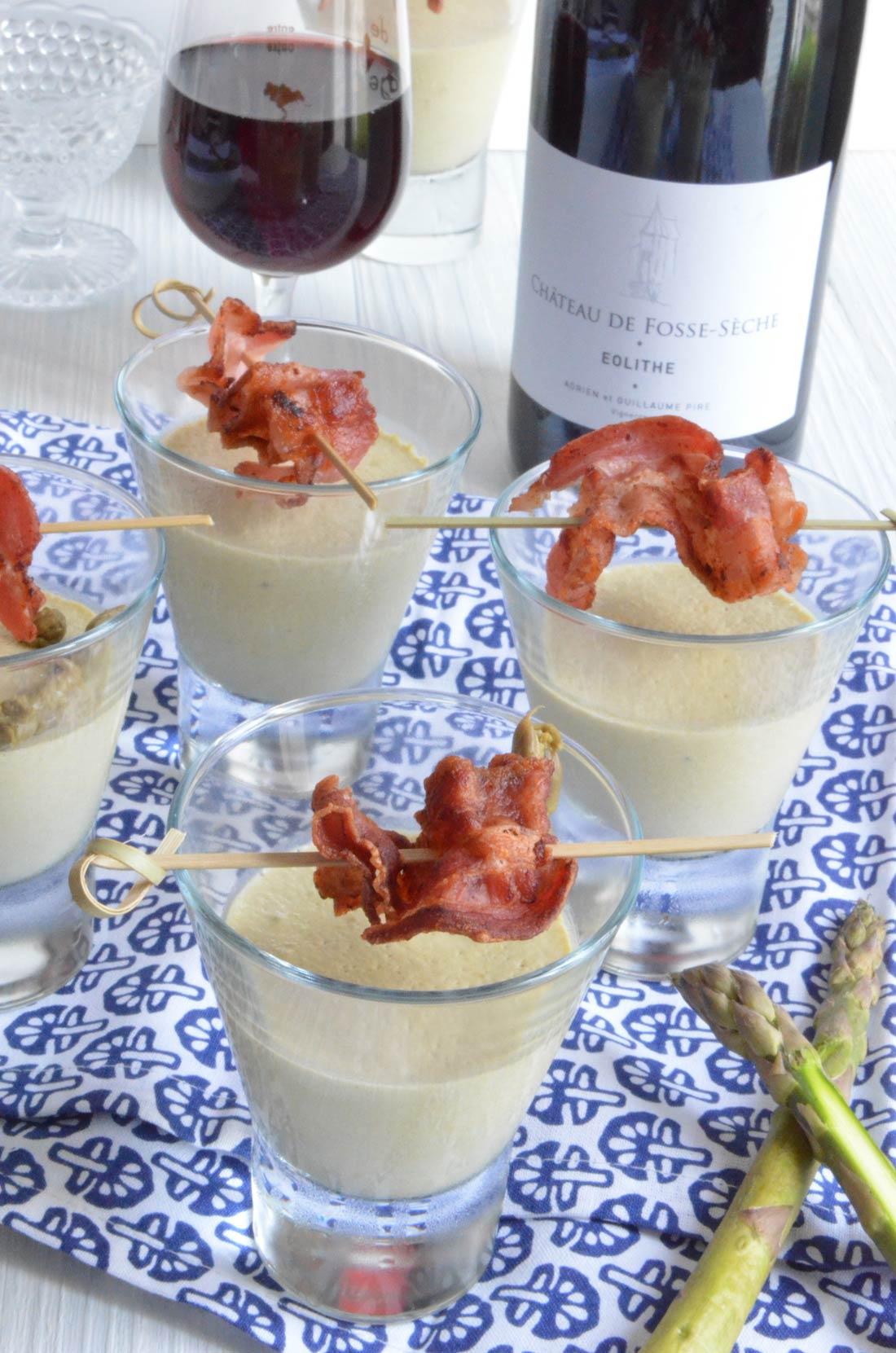 verrines asperges lard croustillant pour l'apéritif