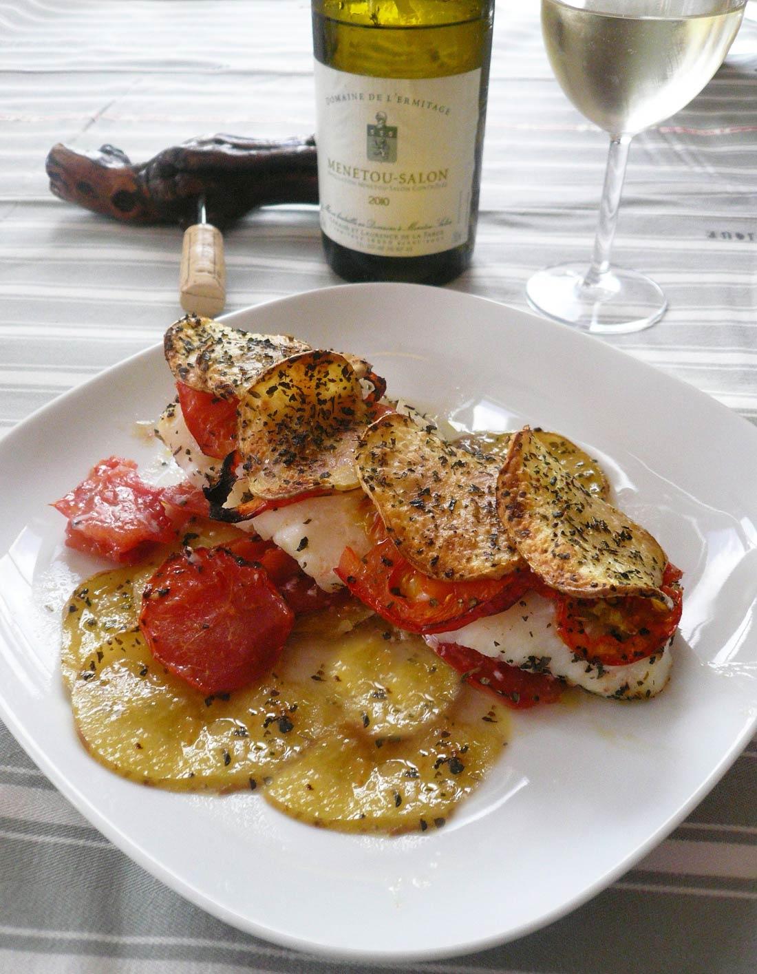 Cabillaud aux tomates en écailles de pommes de terre