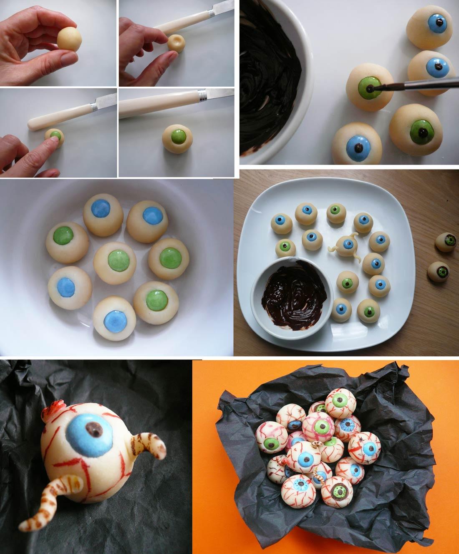 yeux en pâte d'amande pour Halloween