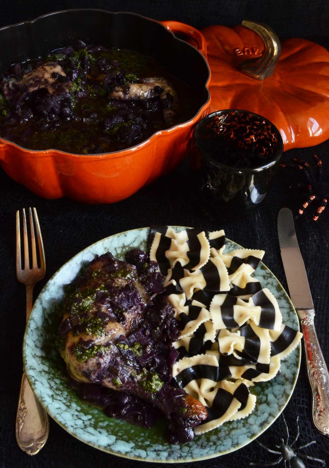 poulet violet la sauce verte recette halloween sal e. Black Bedroom Furniture Sets. Home Design Ideas