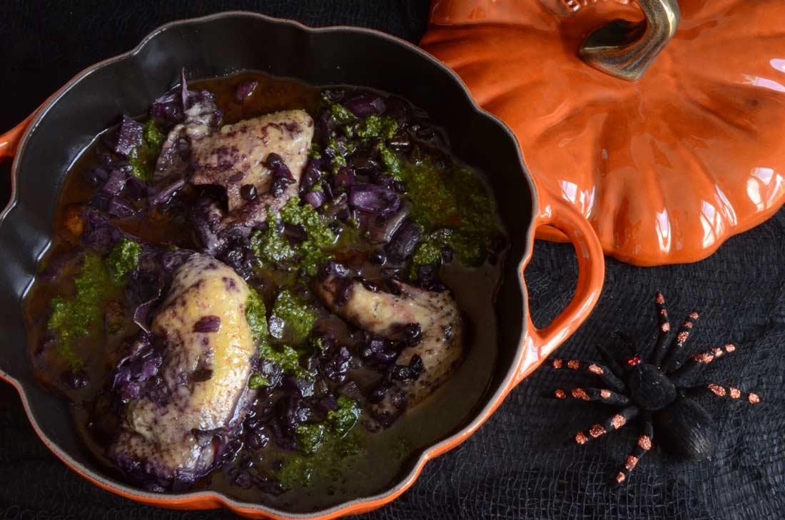 Poulet violet à la sauce verte