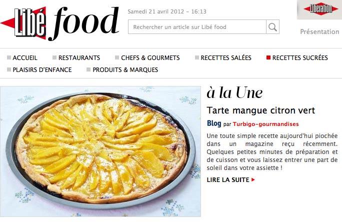 Libé food - Tarte mangue citron vert