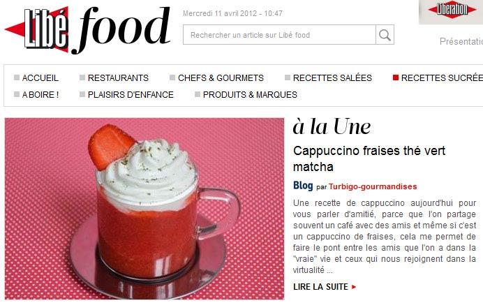 Libé food - Cappuccino fraises thé vert matcha