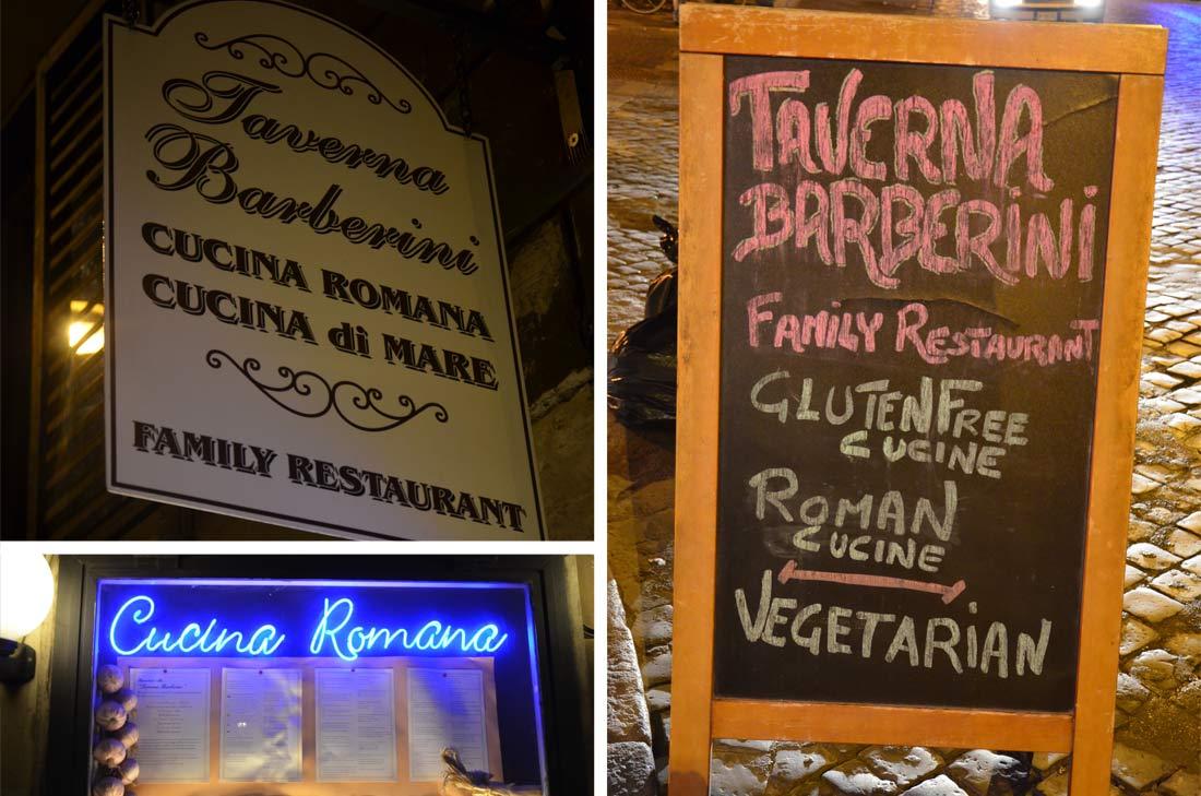 Taverna barberini, mes adresses gourmandes à Rome