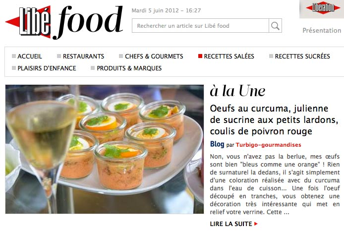 Une Libé Food Oeufs curcuma julienne de sucrine et lardons