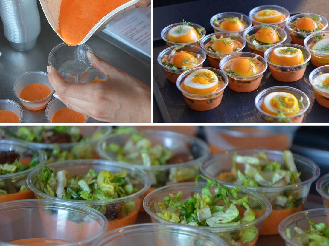 Oeufs au curcuma, julienne de sucrine aux petits lardons, coulis de poivron rouge