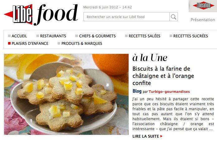 Une Libé Food Biscuits à la farine de châtaigne et à l'orange confite