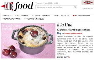 Clafoutis framboises cerise à la Une Libé Food