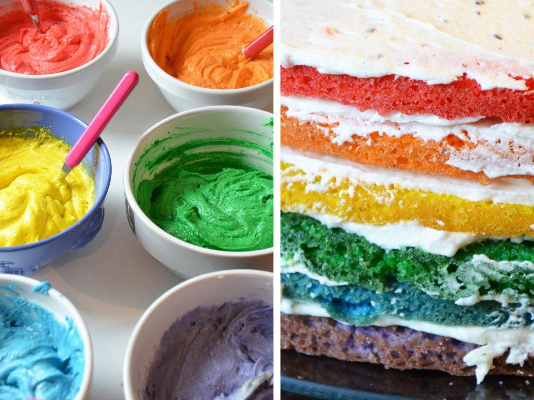 préparation Wicked Rainbow Cake