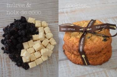 recette extra de cookies flocons d'avoine, à la noix de coco et à la mûre séchée
