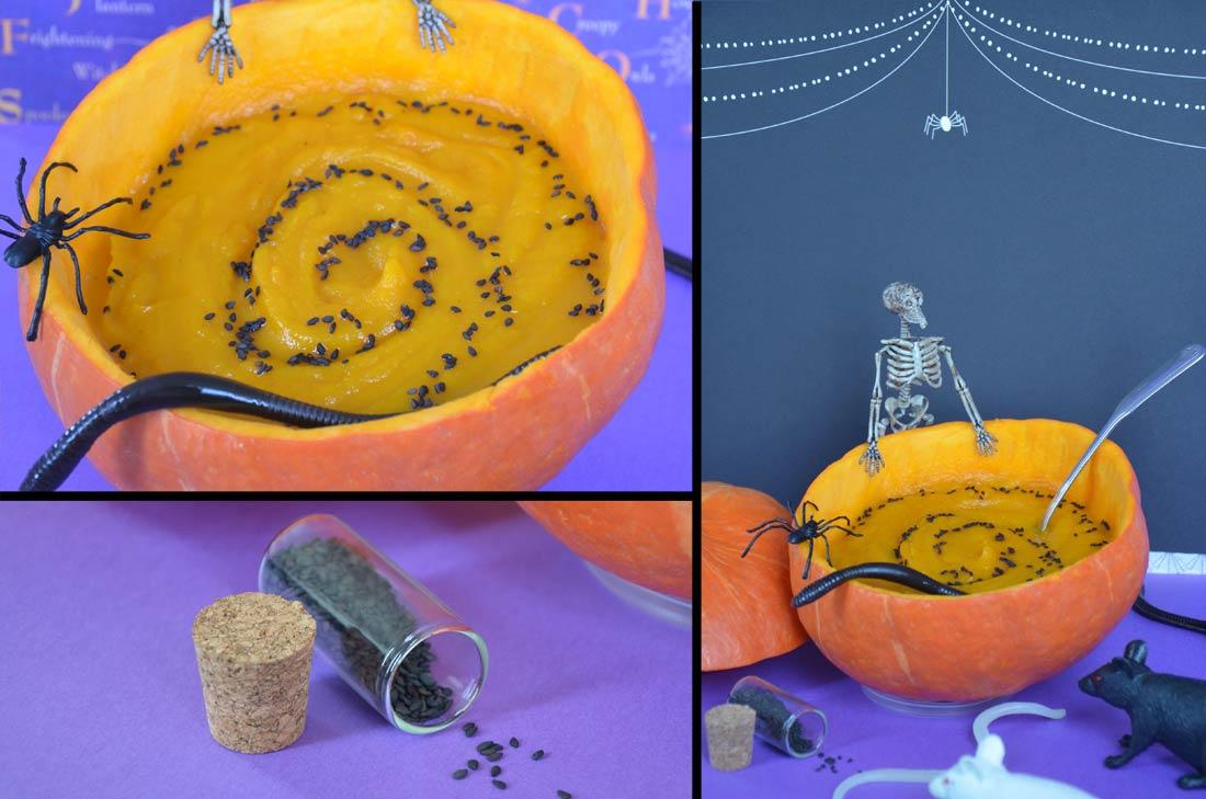recette de soupe potimarron à la sauce Halloween