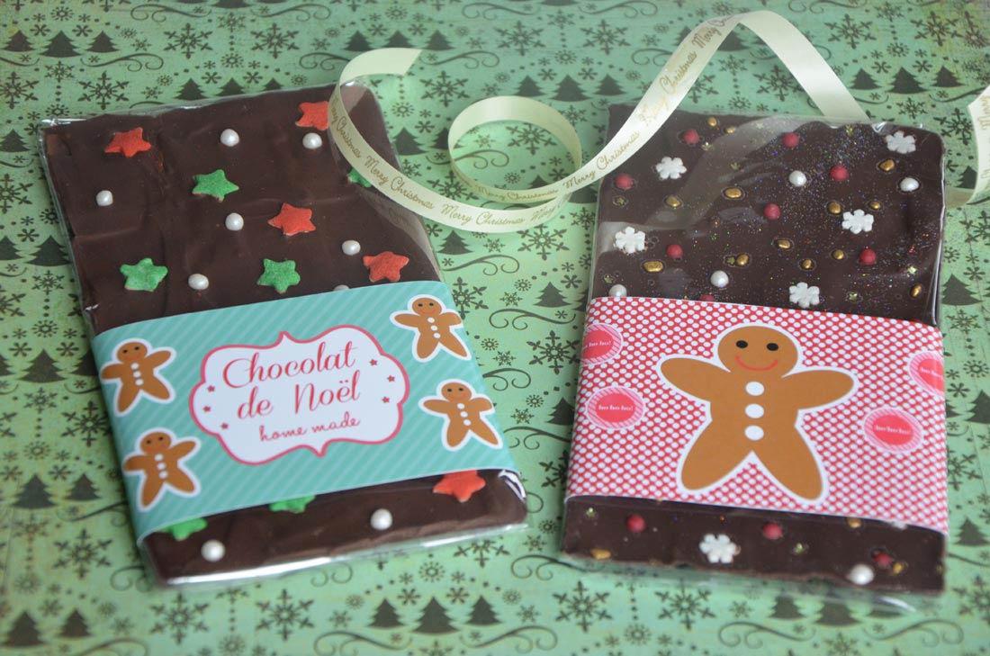 recette de tablettes de chocolat à customiser pour faire des cadeaux gourmands