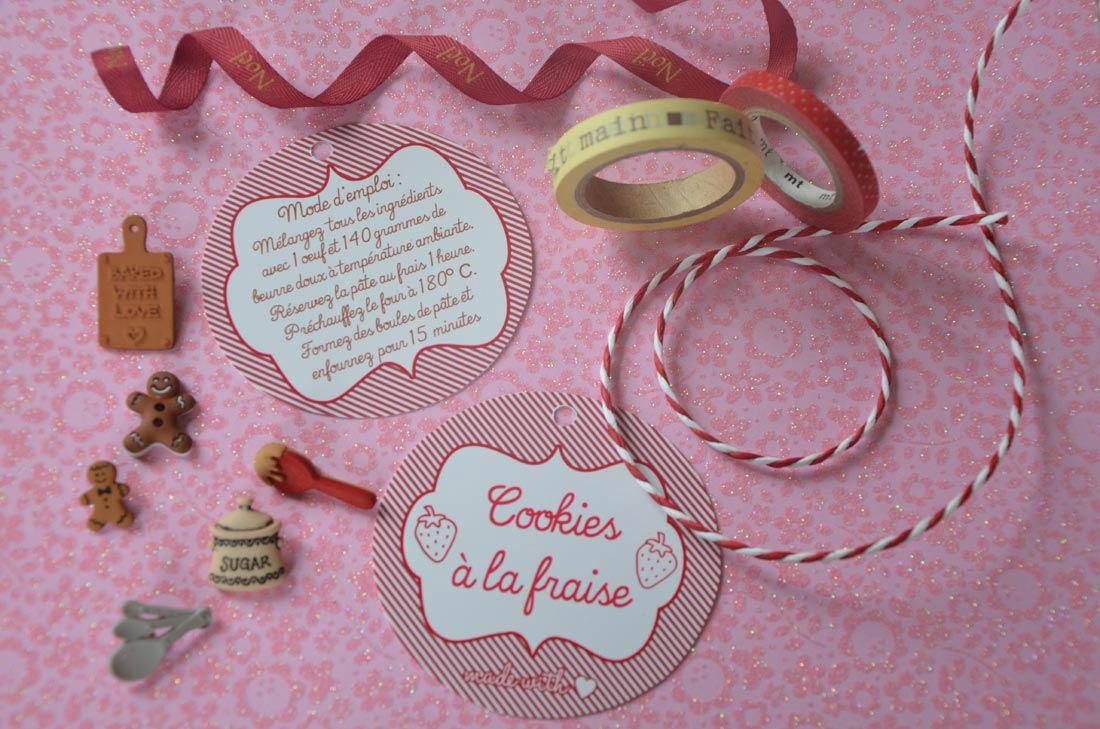 recette de cookies aux pépites de chocolat en kit à offrir comme cadeaux gourmands avec des étiquettes à télécharger gratuitement
