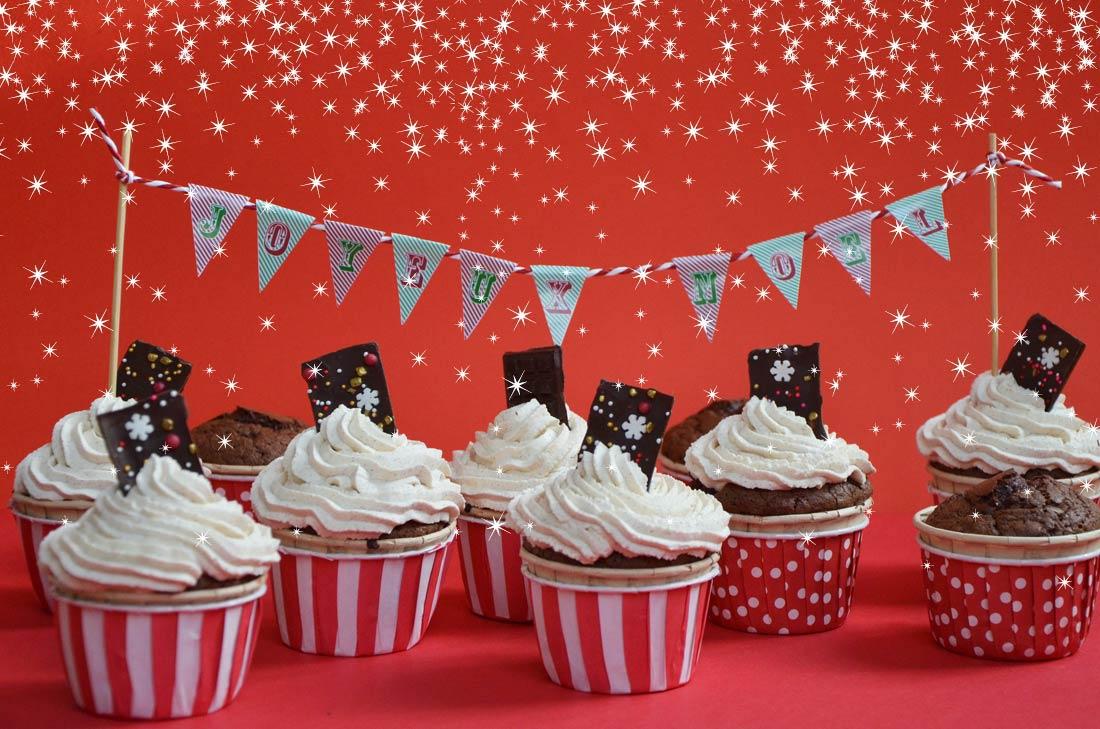 Cupcakes Chocolat Cannelle étiquettes De Noël à Télécharger