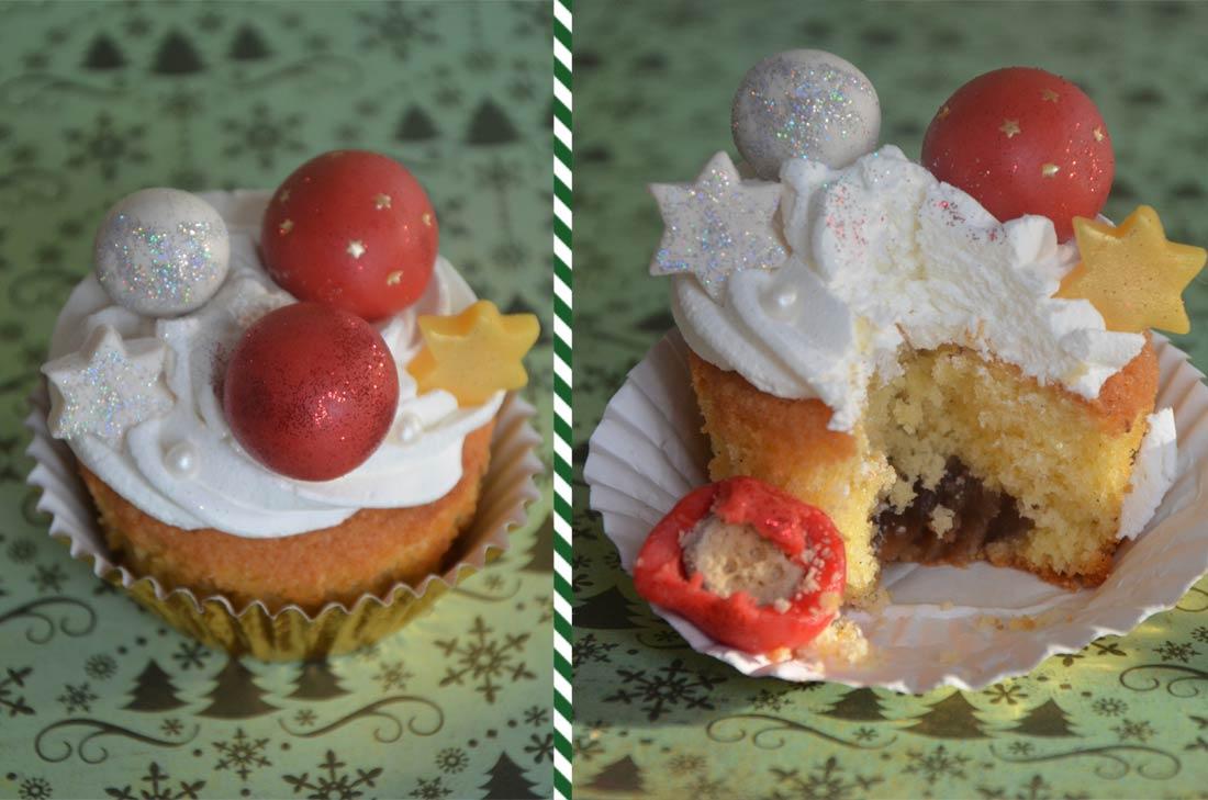 cupcakes avec des décorations de Noël en pâte d'amande