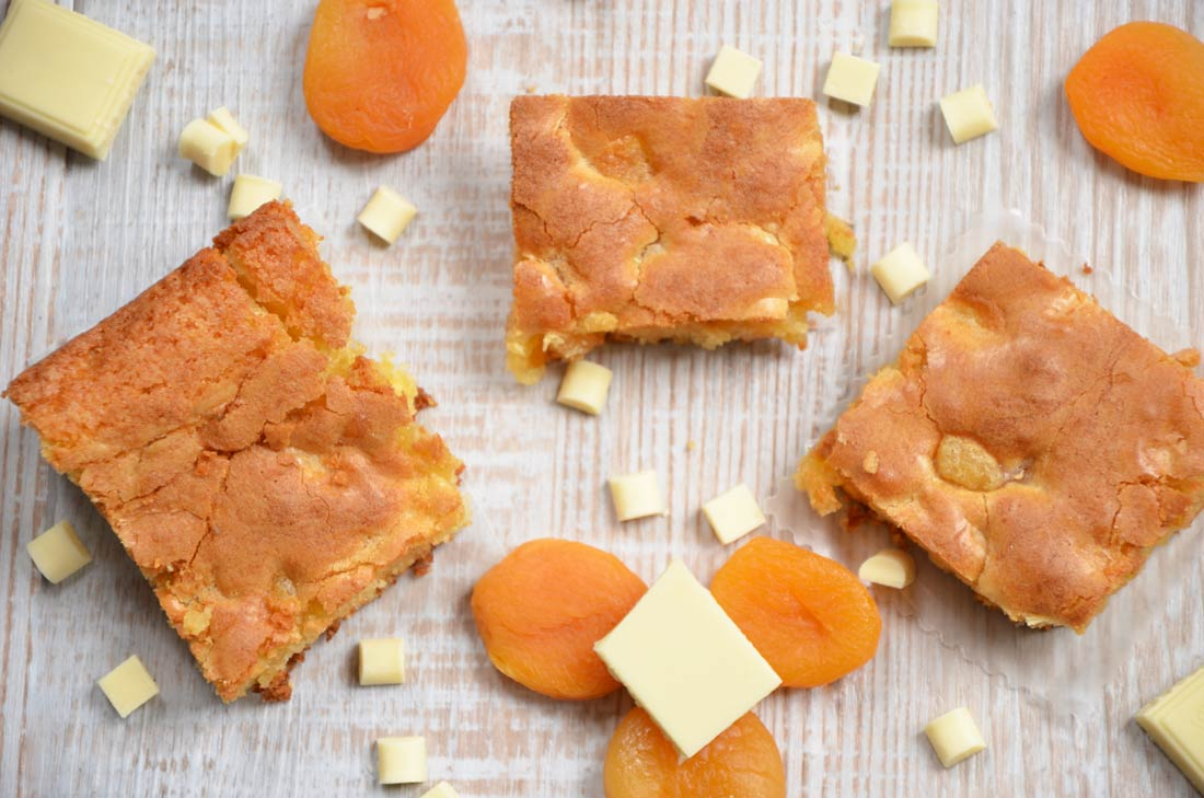 Blondies chocolat blanc abricots secs