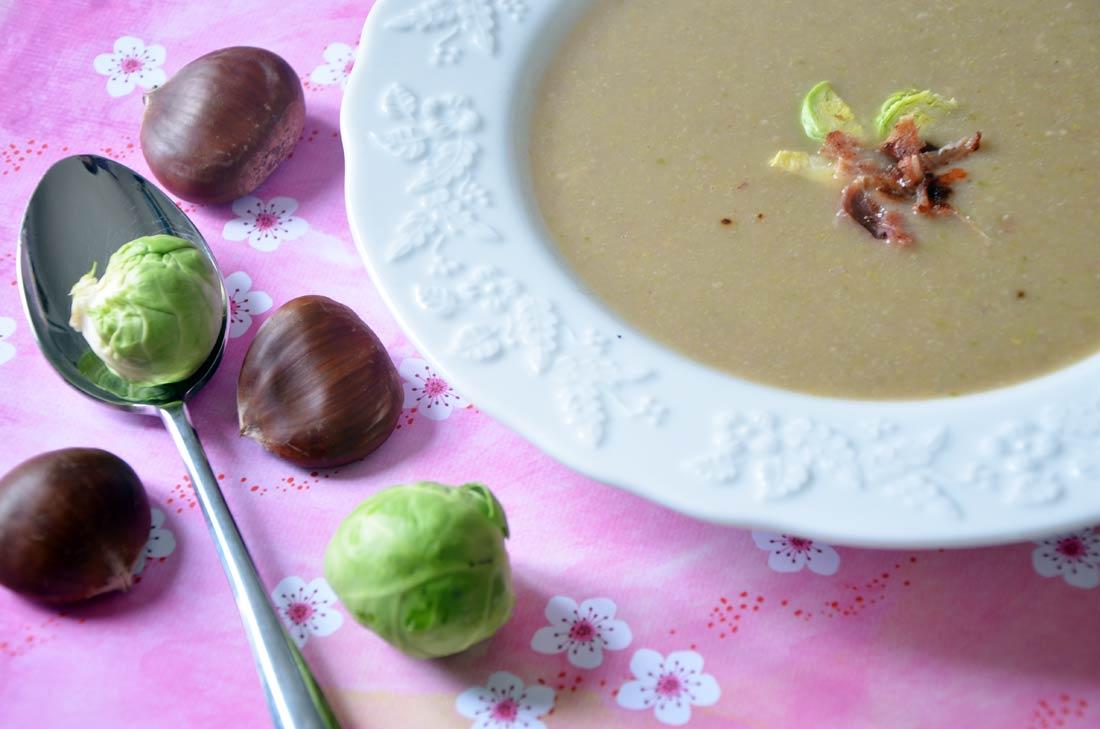 soupe châtaignes et choux de Bruxelles