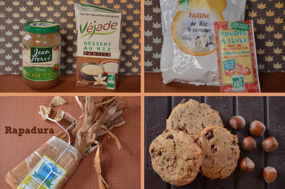 Ingredients pour la recette de Cookies Noisettes chocolat sans gluten