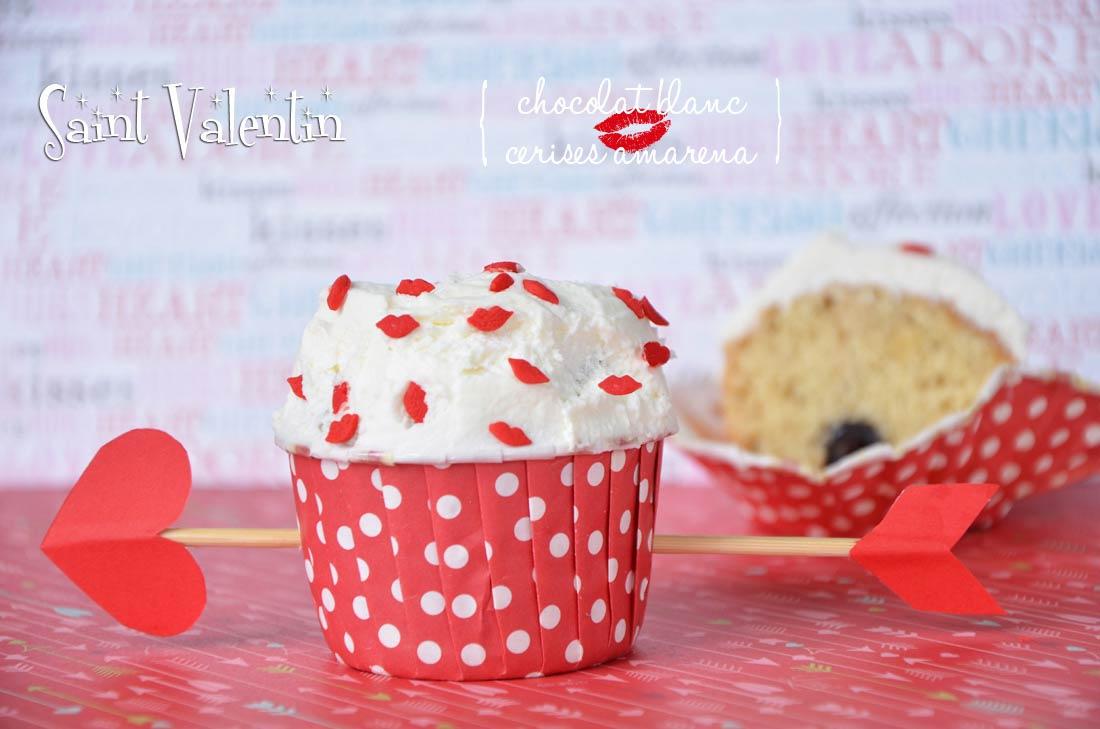 Cupcakes chocolat blanc cerises amarena