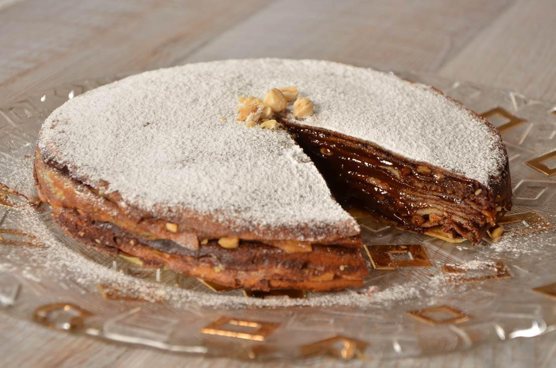 gâteau de crêpes chocolat noisettes