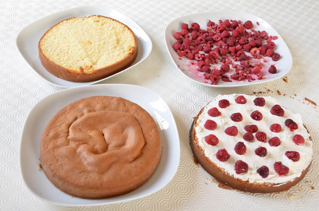 pas à pas gâteau de Pâques, un layer cake vanille framboises