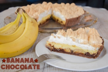 Tarte banane choco coco meringuée