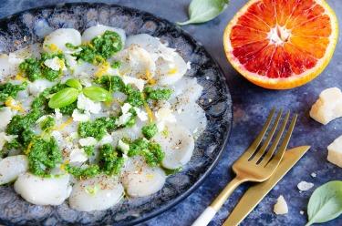 Ccarpaccio de st-jacques pesto basilic orange fait maison