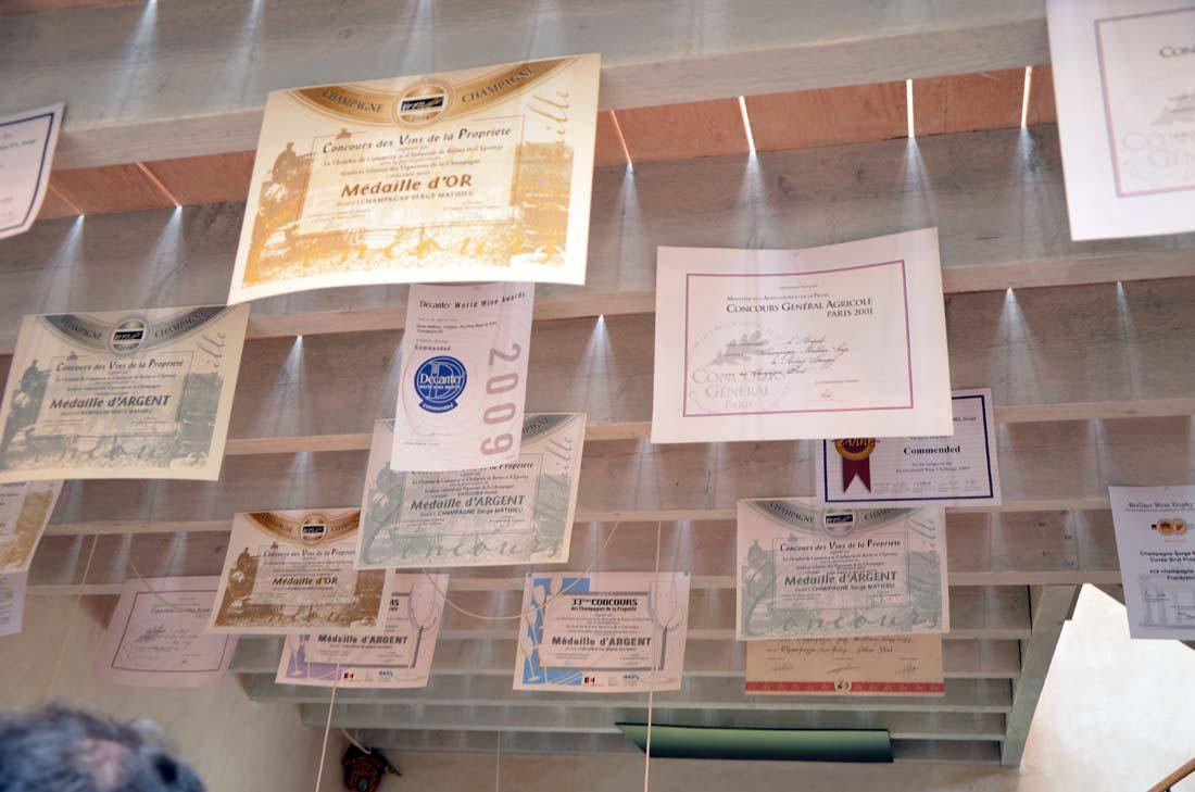 Prix gagnés par les Champagnes Serge Mathieu
