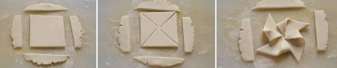 Moulin en pâte à sucre, détails du rainbow cheesecake