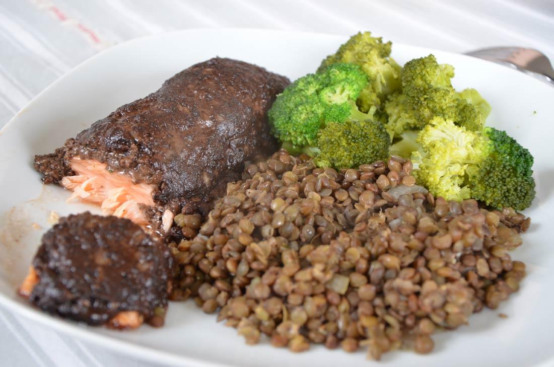 Recette de Saumon en croûte d'olives et parmesan