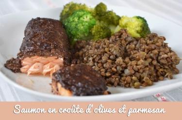 Saumon en croûte d'olives et parmesan
