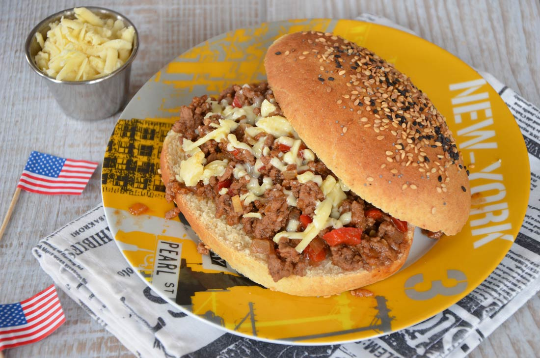 Recette de sloppy joe, le hamburger au boeuf haché et épicé