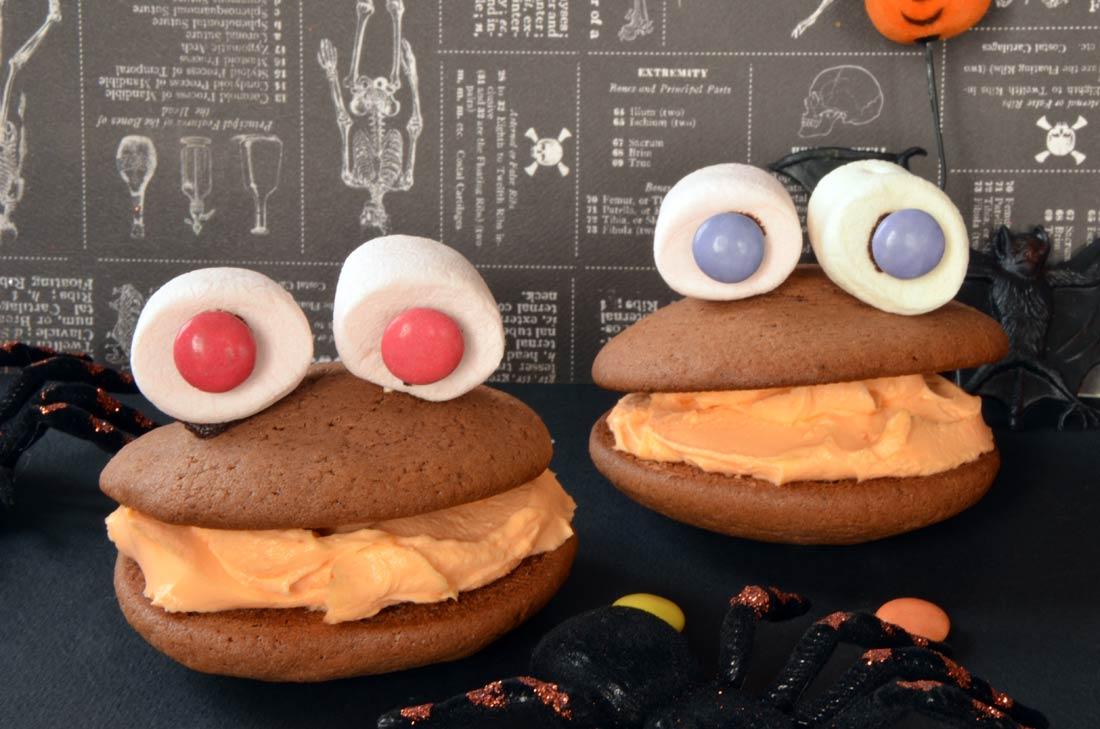 le whoopies monster, un goûter facile et amusant pour les enfants à Halloween