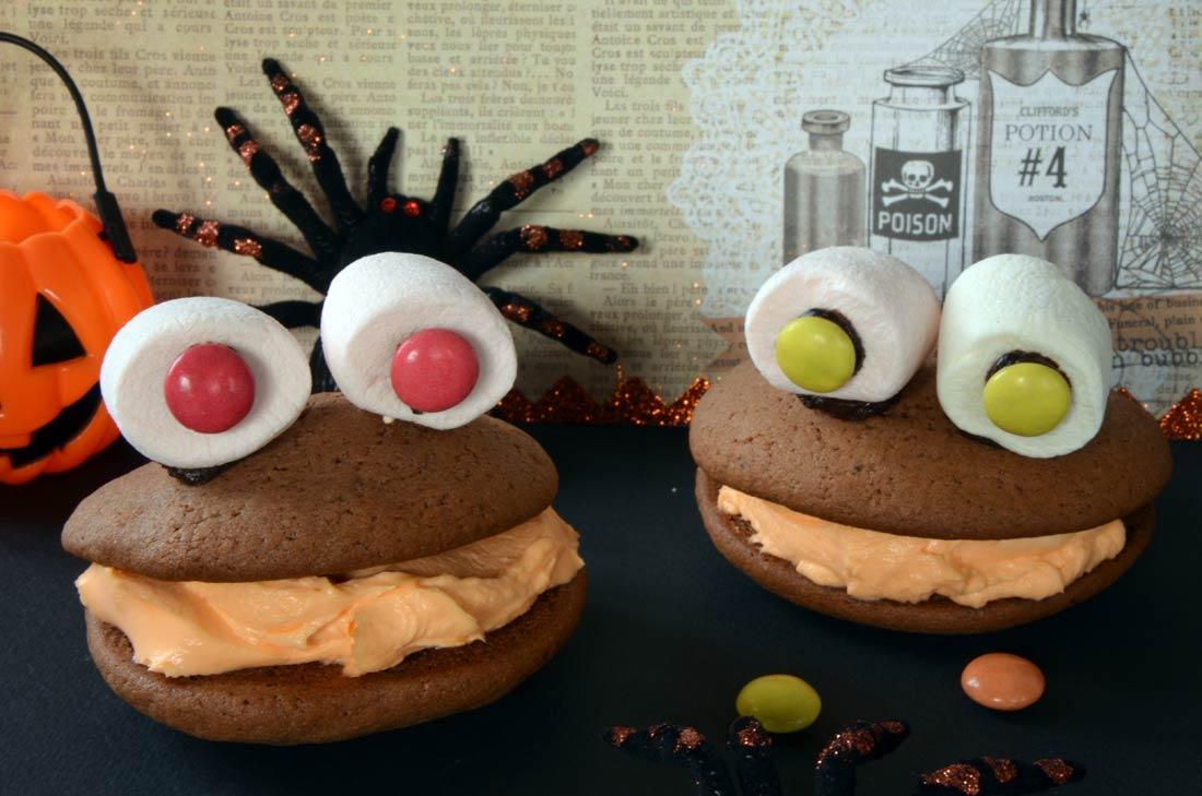 Whoopies monster recette facile et amusante pour les enfants halloween - Recette dessert halloween ...