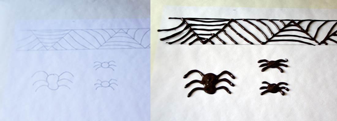 araignées décoration en chocolat réalisées pour Halloween