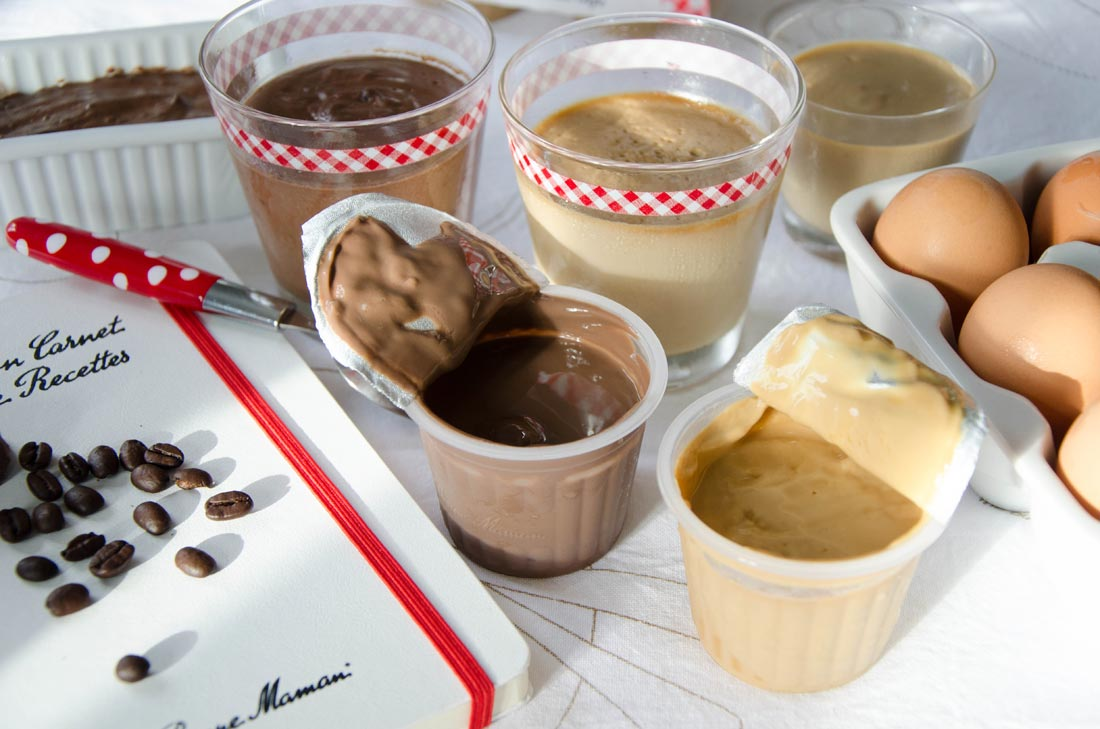 Délicieuse recette de crèmes au chocolat ou au café d'après Bonne Maman