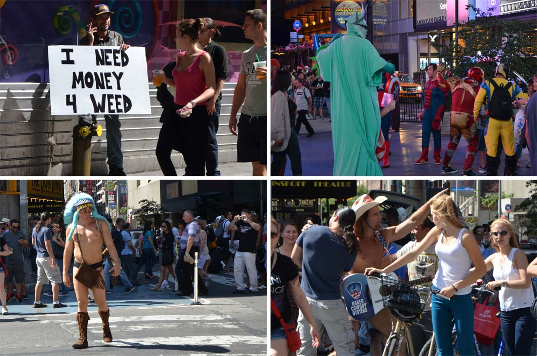 Naked cowboy and New-Yorkers