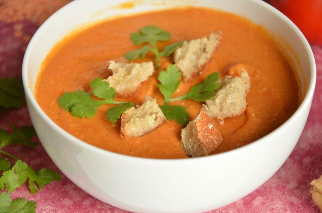 délicieuse recette de soupe lentilles corail et croûtons au gingembre