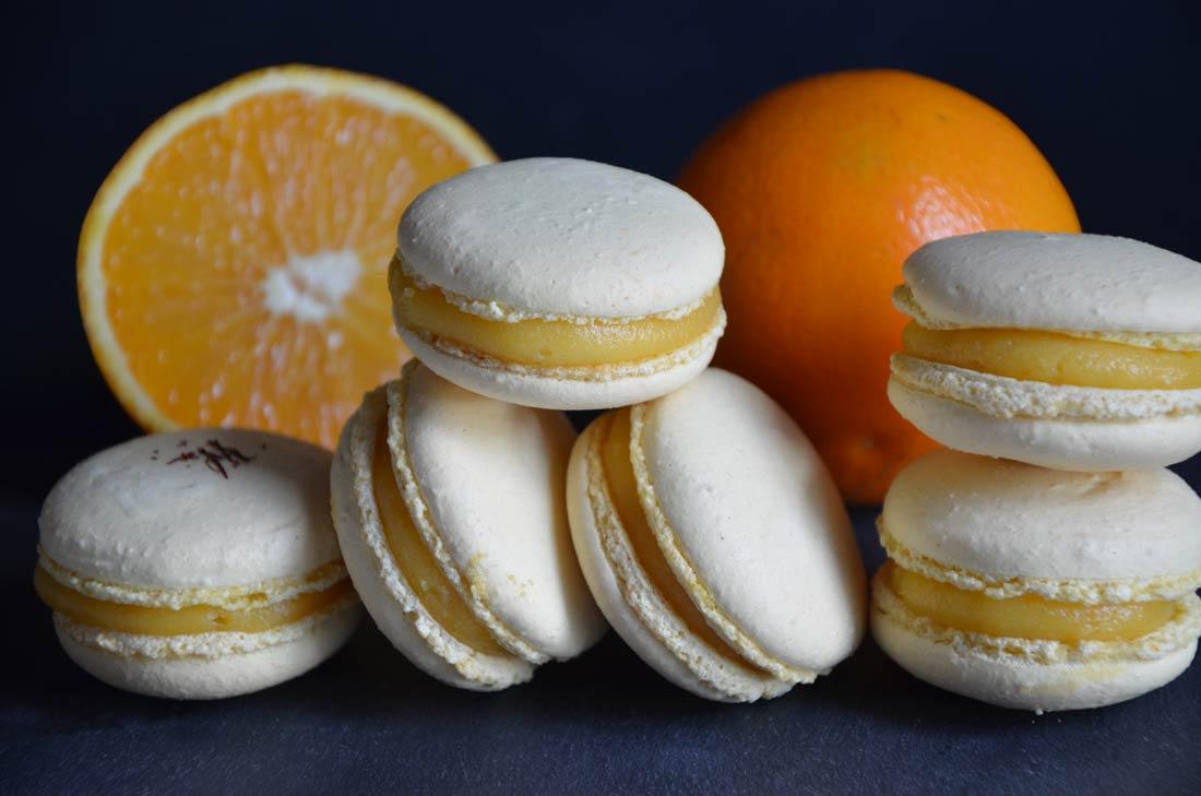 délicieux macarons à l'orange et au safran