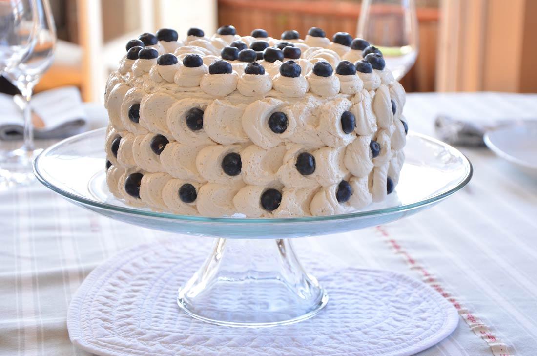délicieuse recette de gâteau aux myrtilles crème à l'érable