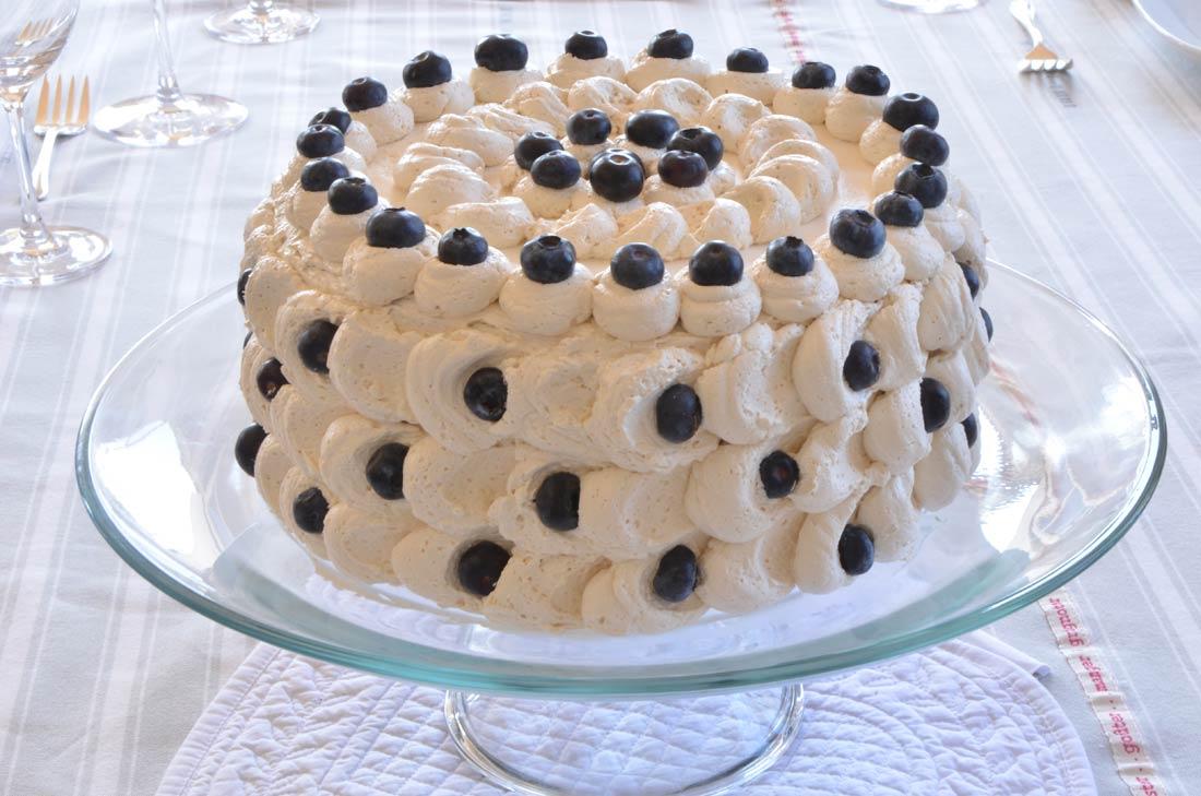 recette de gâteau aux myrtilles crème à l'érable