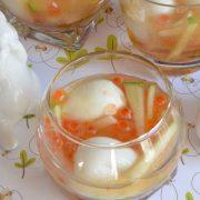 oeufs de caille et oeufs de saumon en gelée