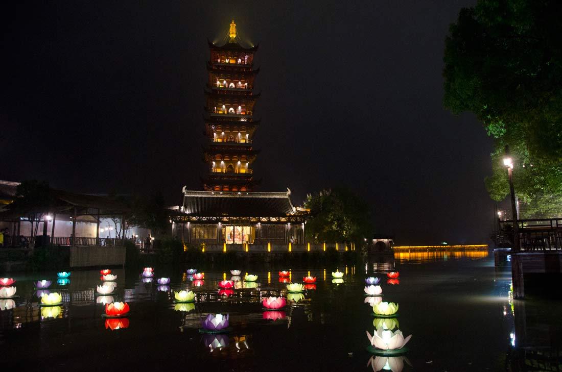 pagode de nuit à Wuzhen