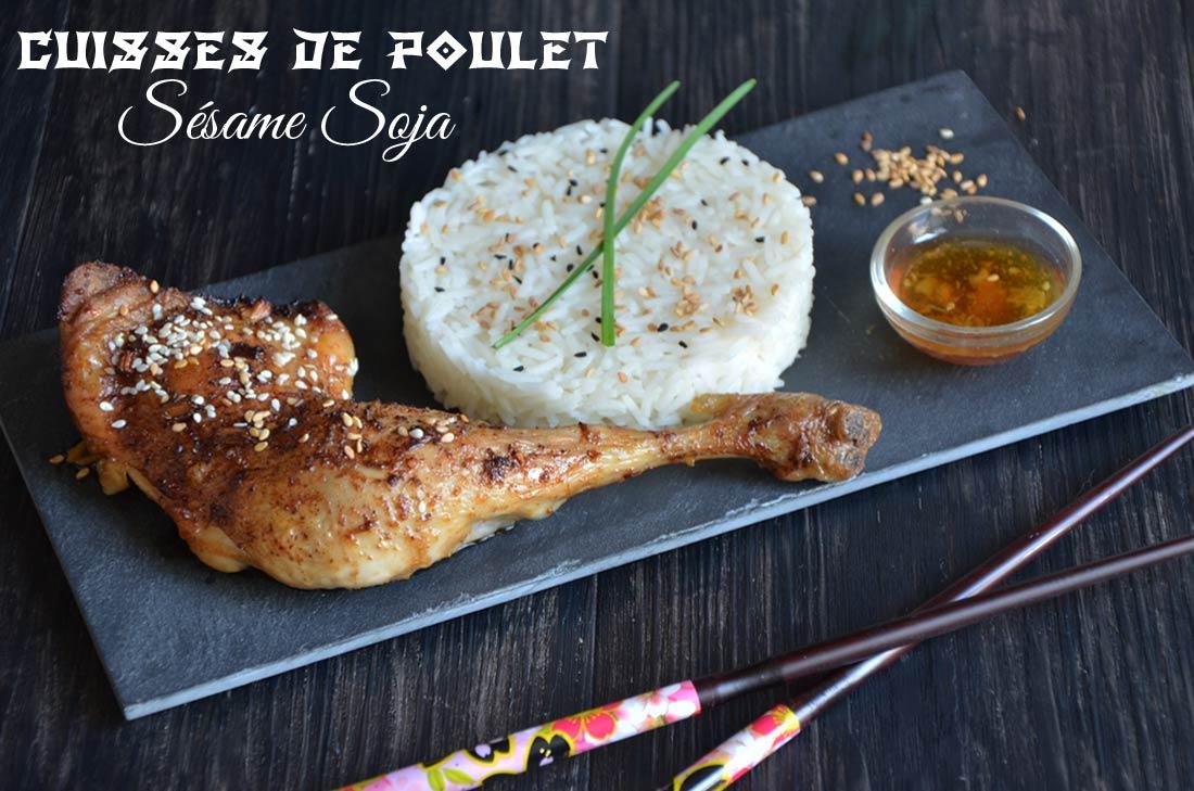 Cuisses de poulet au sésame et sauce soja