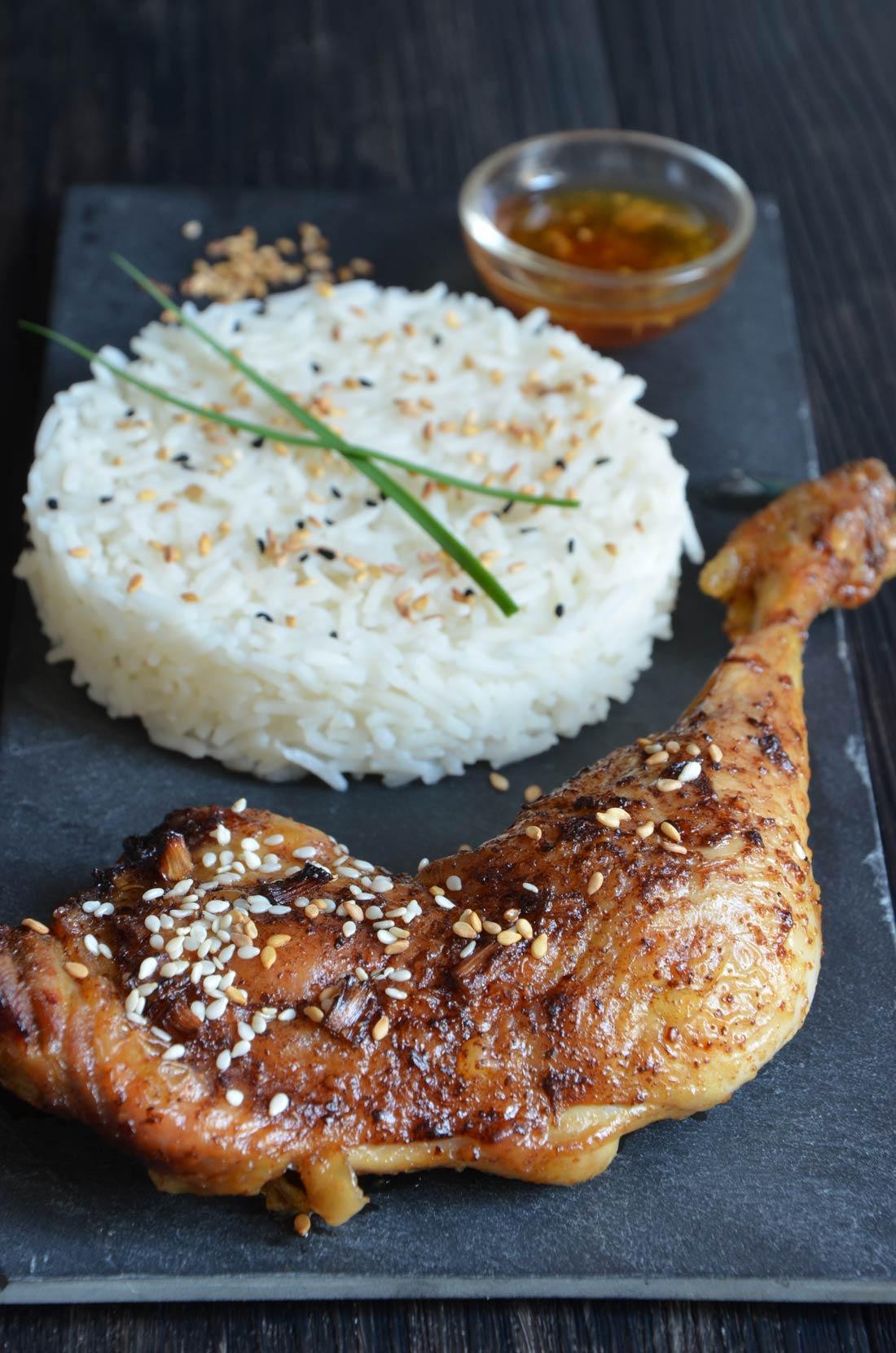 poulet fermier sésame et sauce soja
