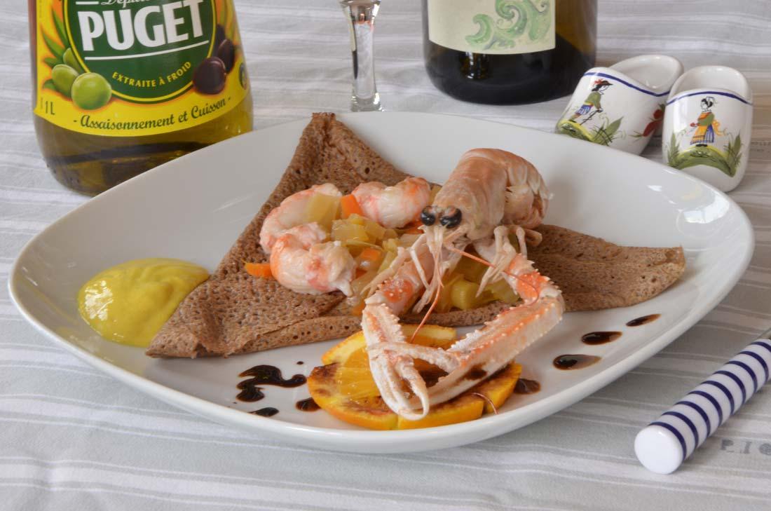 galette de sarrasin aux langoustines