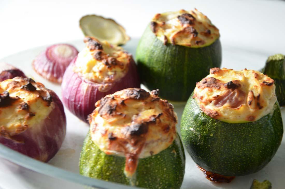 recette de courgettes et oignons rouges à la ricotta