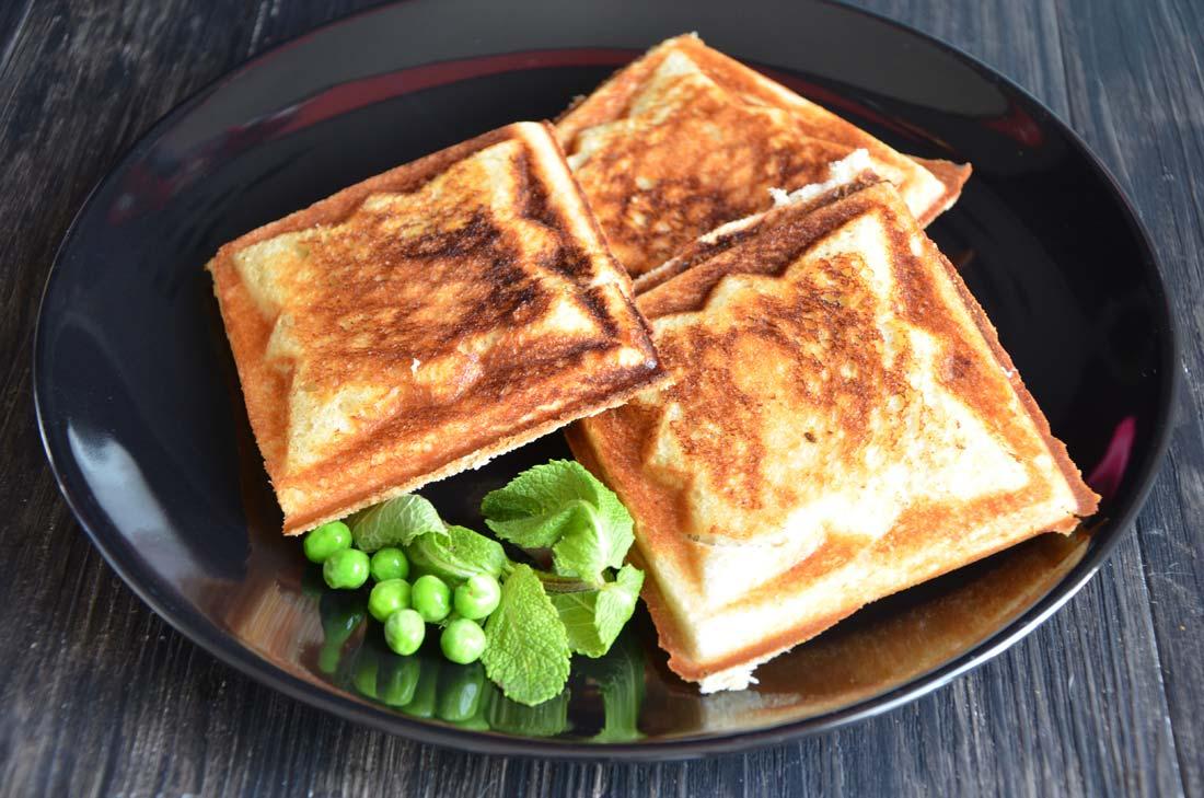 Croque-monsieur petits pois fromage de chèvre frais