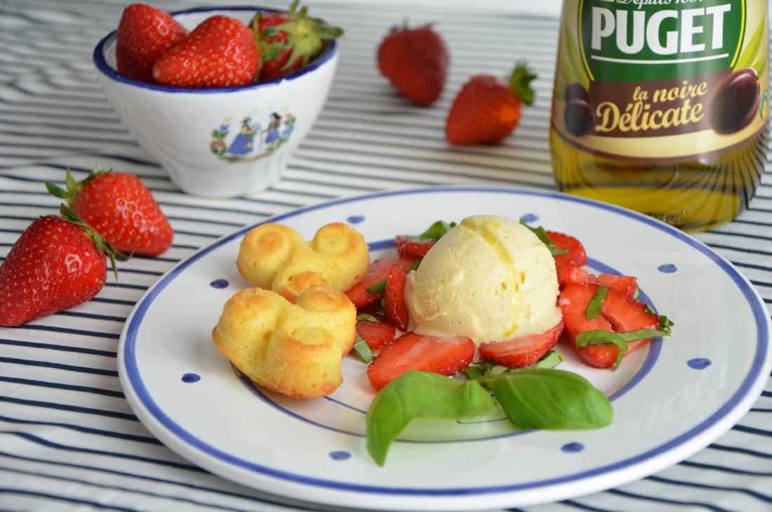 fraises de Plougastel, glace à l'huile d'olive et financiers au citron